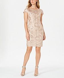 Embellished V-Back Sheath Dress