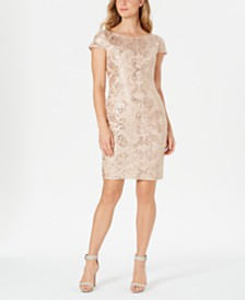 Calvin Klein Embellished V-Back Sheath Dress