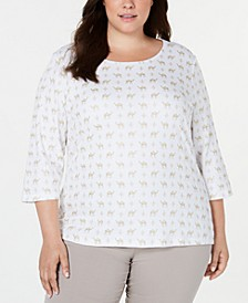 Plus Size Foil-Print 3/4-Sleeve Top, Created for Macy's