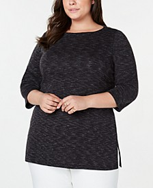 Plus Size Space-Dye 3/4-Sleeve Top, Created for Macy's