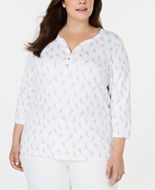 Karen Scott Plus Size Printed 3/4-Sleeve Henley Top, Created for Macy's