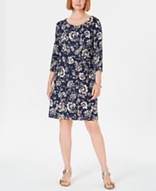 Karen Scott Printed 3/4-Sleeve Shift Dress, Created for Macy's