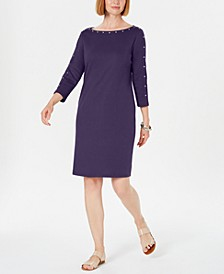Cotton Studded 3/4-Sleeve Shift Dress, Created for Macy's
