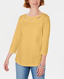 Karen Scott Three-Quarter-Sleeve Cutout Top, Created For Macy's