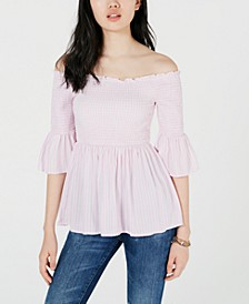 Juniors' Printed Off-The-Shoulder Babydoll Top