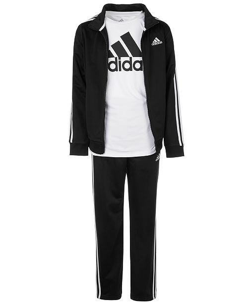 adidas Big Boys Iconic Tricot Jacket, Pants & Logo T-Shirt Separates