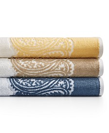 CLOSEOUT! Gianna Paisley Border Cotton Bath Towel Collection, Created for Macy's