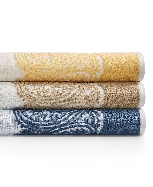 Martex  CLOSEOUT! Gianna Paisley Border Cotton Bath Towel Collection, Created for Macy's