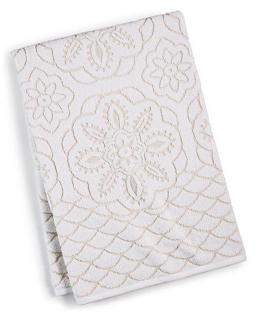 "Martex  CLOSEOUT! Rosa Floral Medallion Sculpted Cotton 30"" x 54"" Bath Towel, Created for Macy's"