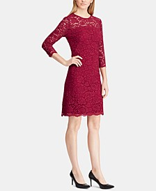 Petite Scalloped-Hem Lace Dress