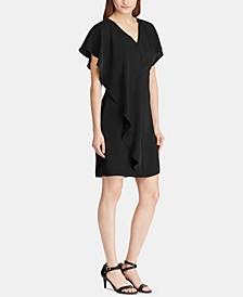 Ruffled-Overlay Short-Sleeve Crepe Shift Dress