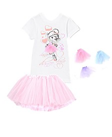 Little and Big Girls Interchangeable 3D Tutu Top and Matching Light Pink Tutu Skirt