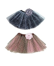 One Size Girls Animal Print Flower Tutu Set