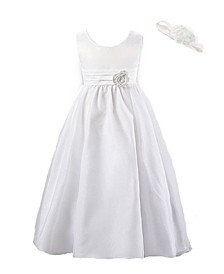 Little and Big Girls White Special Occasion Dress with Attached Removable Flower and Flower Headband