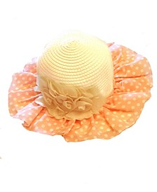 One Size Girls Sun Hat with Attached Cream Flowers