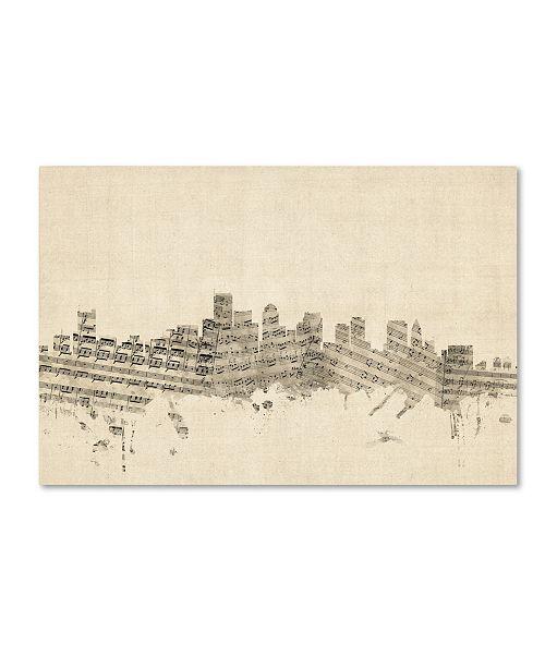 "Trademark Global Michael Tompsett 'Boston Massachusetts Skyline Sheet Music' Canvas Art - 12"" x 19"""