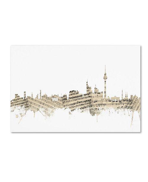 "Trademark Global Michael Tompsett 'Berlin Germany Skyline Sheet Music' Canvas Art - 12"" x 19"""