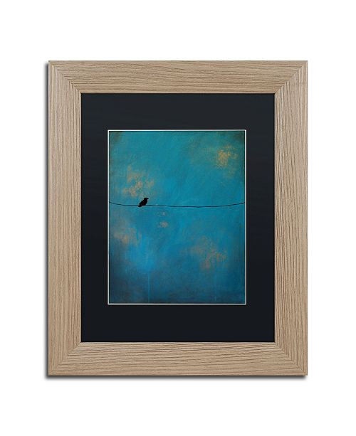 "Trademark Global Nicole Dietz 'Lone Bird Blue' Matted Framed Art - 11"" x 14"""