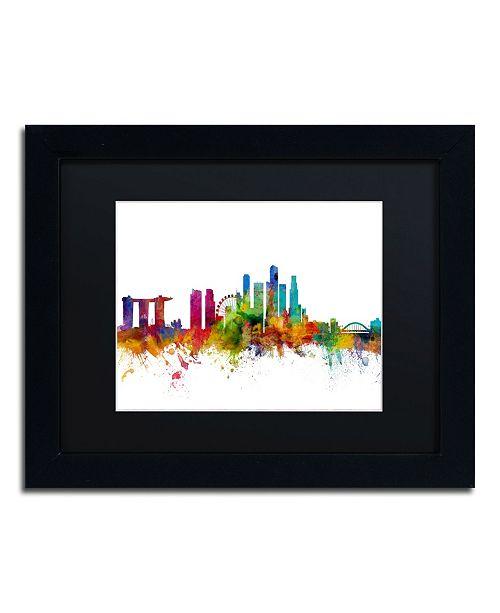 """Trademark Global Michael Tompsett 'Singapore Skyline II' Matted Framed Art - 11"""" x 14"""""""