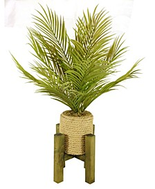 """30"""" Tall Real Touch Palm in Hemp Rope Planter with Wooden Stand"""