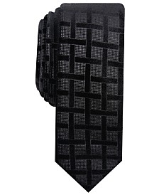 I.N.C. Men's Skinny Lattice Velvet Tie, Created for Macy's
