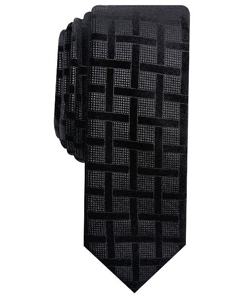 INC International Concepts INC Men's Skinny Lattice Velvet Tie, Created for Macy's