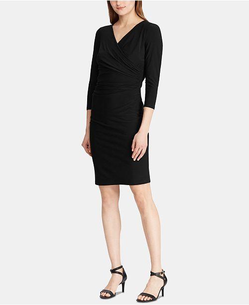 Lauren Ralph Lauren Ruched 3/4-Sleeve Jersey Dress