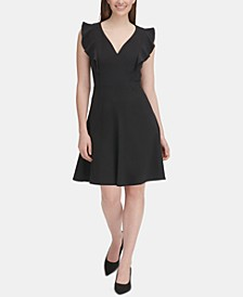 Ruffle-Sleeve Fit & Flare Dress, Regular & Petite Sizes