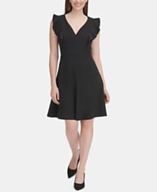 Tommy Hilfiger Ruffle-Sleeve Fit & Flare Dress, Regular & Petite Sizes