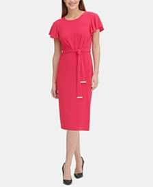 Tommy Hilfiger Flutter-Sleeve A-Line Dress
