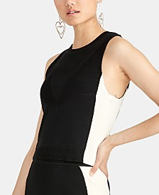RACHEL Rachel Roy Odette Colorblocked Sleeveless Top