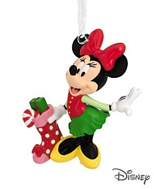 Disney Minnie Mouse With Stocking Christmas Ornament