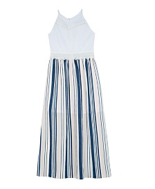 BCX Big Girls Lace-Bodice Striped Maxi Dress