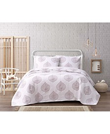 Embroidered Ogee 3 Piece Full/Queen Quilt Set