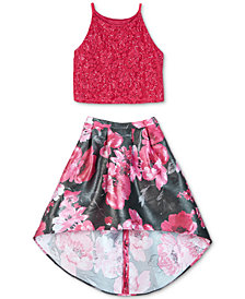 BCX Big Girls 2-Pc. Lace Halter Top & High-Low Skirt Set, a Macy's Exclusive Style