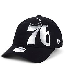 New Era Women's Philadelphia 76ers Foil Script Hook 9TWENTY Strapback Cap