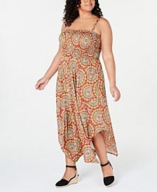 Trendy Plus Size Printed Handkerchief-Hem Dress