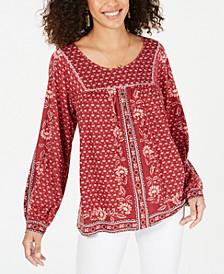 Printed Scoop-Neck Peasant Top, Created for Macy's