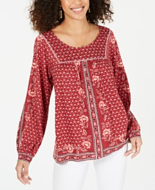 Style & Co Printed Scoop-Neck Peasant Top, Created for Macy's