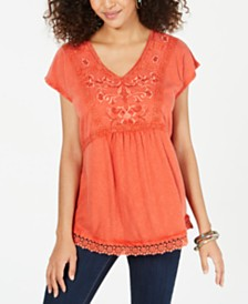 Style & Co Cotton Embellished Trim Top, Created for Macy's