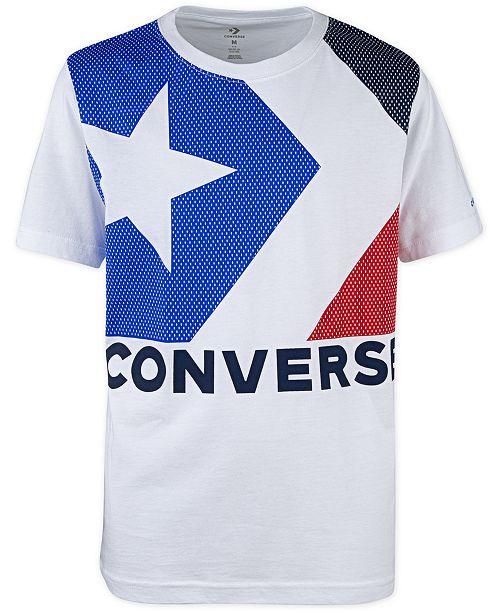 Converse Big Boys Colorblocked Star Chevron Logo T-Shirt