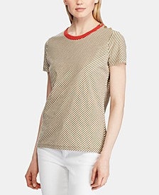 Stripe-Print Button-Shoulder Cotton T-Shirt