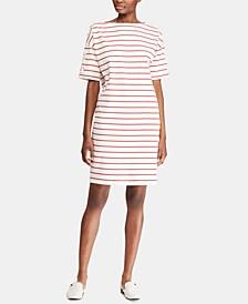 Stripe-Print Boatneck Cotton Jersey Dress