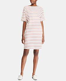 Lauren Ralph Lauren Stripe-Print Boatneck Cotton Jersey Dress