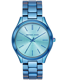 Michael Kors Women's Slim Runway Iridescent Blue IP Stainless Steel Bracelet Watch 42mm