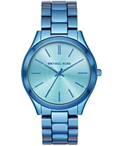 1f03b8393 Michael Kors Women's Slim Runway Iridescent Blue IP Stainless Steel  Bracelet Watch 42mm