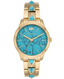 Michael Kors Women's Runway Mercer Gold-Tone Stainless Steel Bracelet Watch 38mm