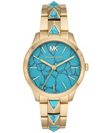 Michael Kors Women's Runway Mercer Gold-Tone Stainless Steel Bracelet Watch 38mm