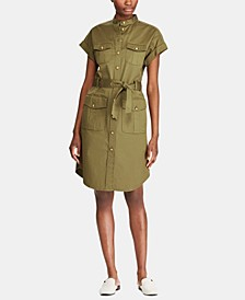 Self-Tie Buttoned Shirtdress