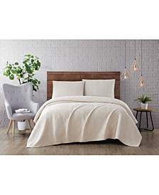 Washed Rayon Basketweave 3 Piece Full/Queen Quilt Set